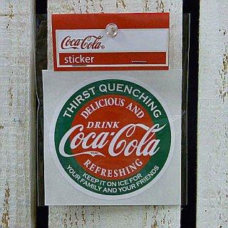 ☆COKE☆    (CC-BA1:ラウンド)コカコーラ ステッカー  輸入雑貨/海外雑貨/直輸入/アメリカ雑貨