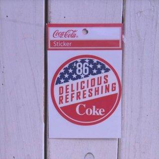 星条旗 (CC-BA52:サークル86)コカコーラ ステッカー  輸入雑貨/海外雑貨/直輸入/アメリカ雑貨