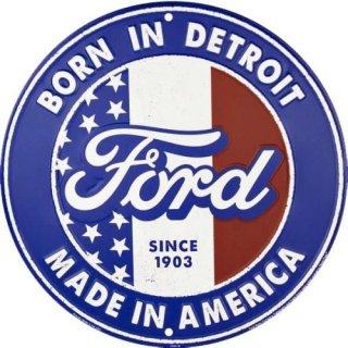 US フォード ボーンアメリカ メタルラウンド サイン  輸入雑貨/海外雑貨/直輸入/アメリカ雑貨/アメ雑
