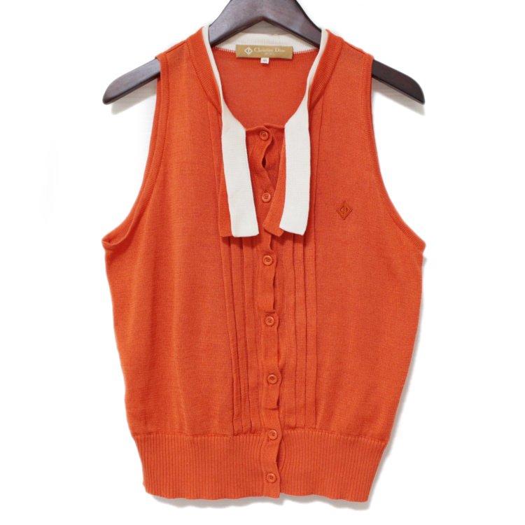 Dior ディオール ヴィンテージ<br>ノースリニットトップス オレンジ