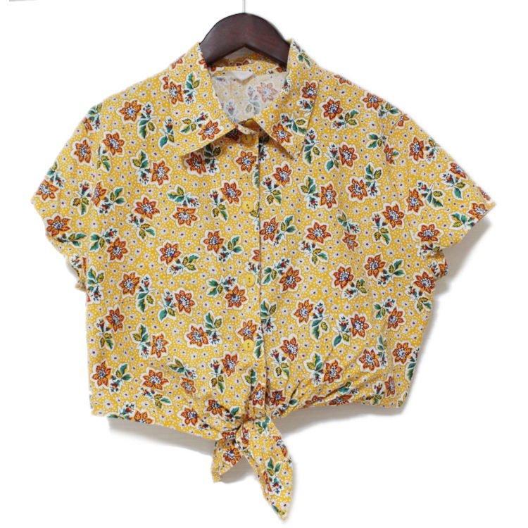 RiLish's SELECT ヴィンテージ<br>Euro 80'sフラワー柄前結びシャツ