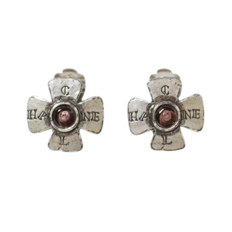 CHANEL シャネル ヴィンテージ<br>90'sカラーストーン×シルバーロゴイヤリング