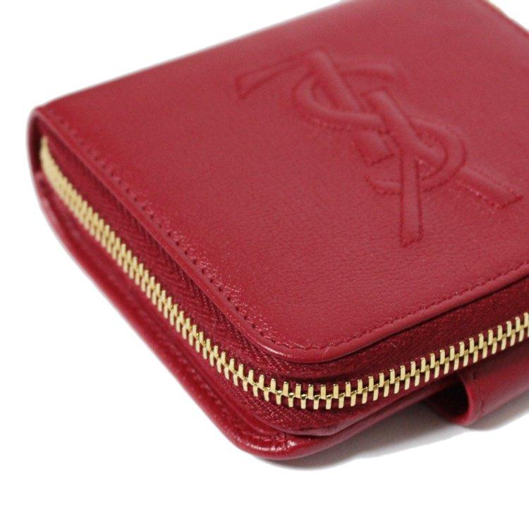YSL イヴサンローラン ヴィンテージ<br>ロゴレザーラウンドジップ二つ折り財布 レッド