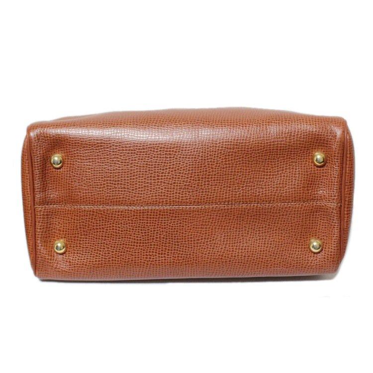 Dior ディオール ヴィンテージ<br>オバールロゴ金具レザーハンドバッグ キャメル