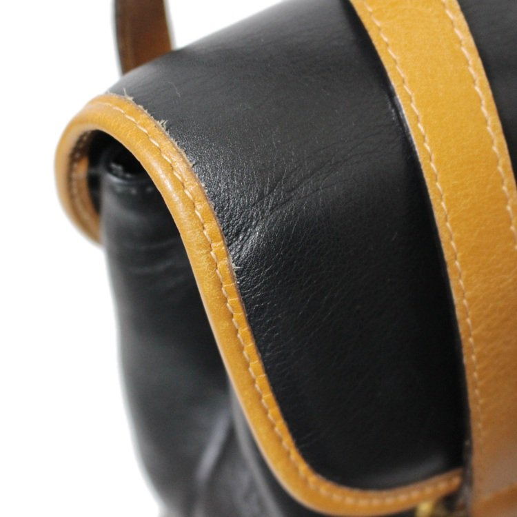 CELINE セリーヌ ヴィンテージ<br>ブラゾンバイカラーレザーハンドバッグ