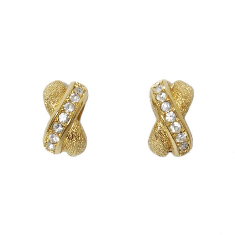 Dior ディオール ヴィンテージ<br>ラインストーンクロスイヤリング