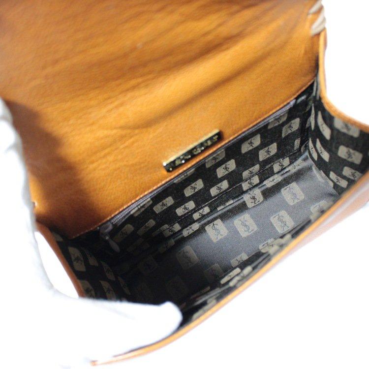 YSL イヴサンローラン ヴィンテージ<br>ケリー型レザーハンドバッグ キャメル