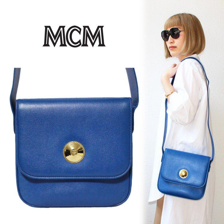 MCM エムシーエム ヴィンテージ<br>レザーショルダーバッグ ブルー