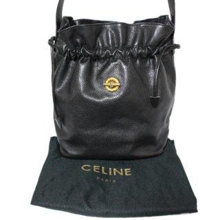 CELINE セリーヌ ヴィンテージ<br>サークル金具巾着レザーショルダーバッグ