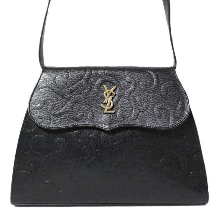 YSL イヴサンローラン ヴィンテージ<br>唐草ロゴレザーショルダーバッグ