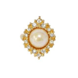 Dior ディオール ヴィンテージ<br>ラインストーンフェイクパールリング