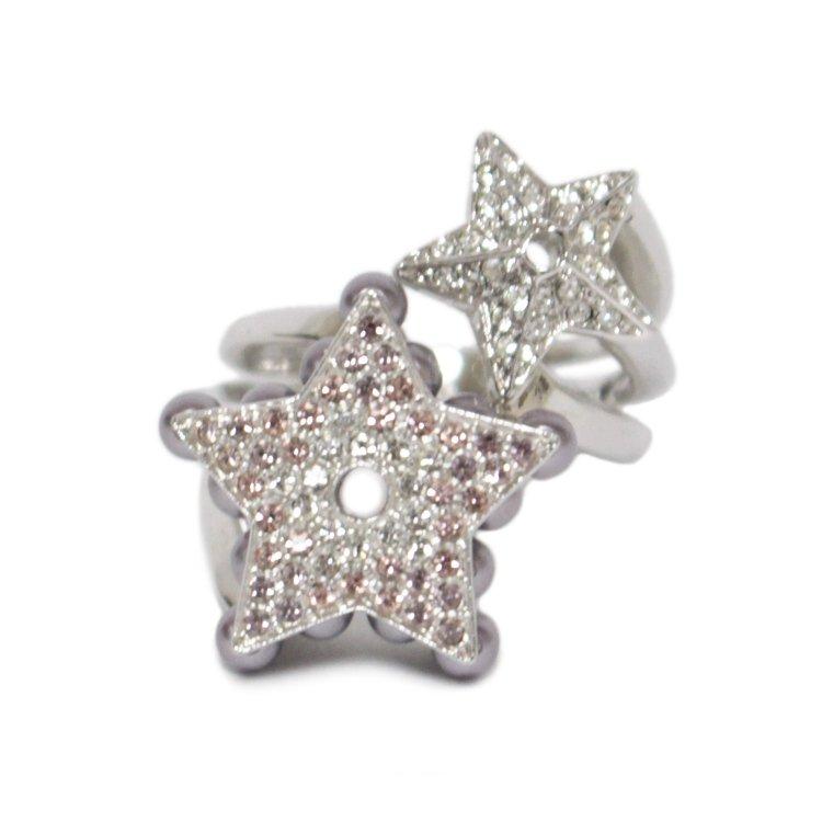 Dior ディオール ヴィンテージ<br>ラインストーンスターツインリング