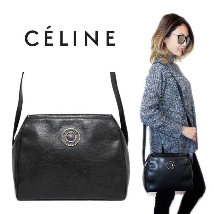 CELINE セリーヌ ヴィンテージ<br>サークルロゴレザーショルダーバッグ