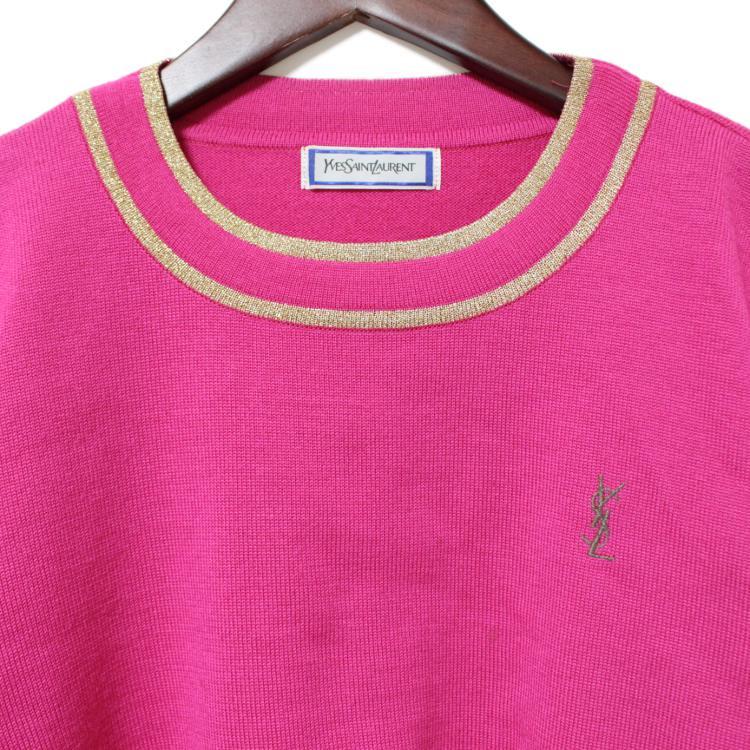 YSL イヴサンローラン ヴィンテージ<br>ロゴ刺繍ゴールドパイピングニット ピンク
