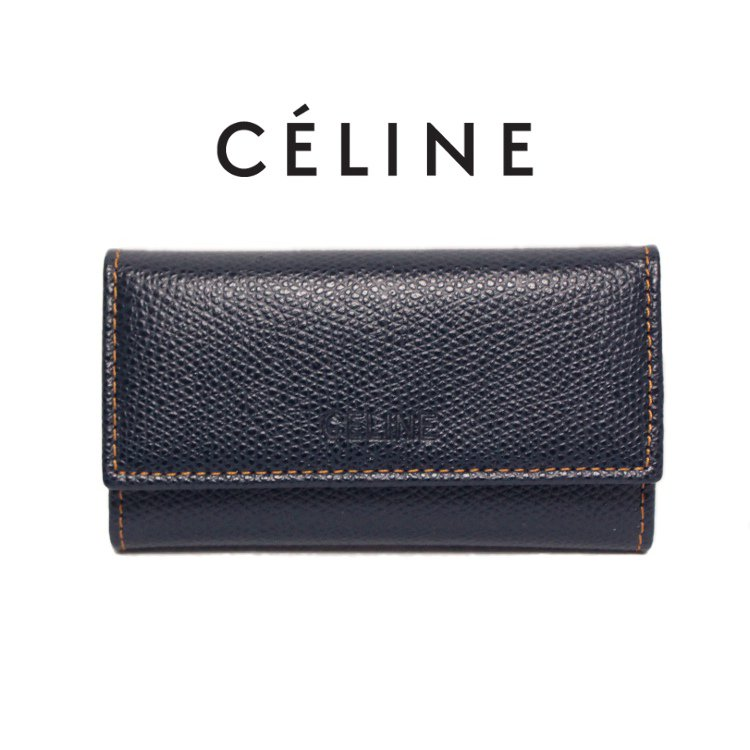 CELINE セリーヌ ヴィンテージ<br>6連型押しレザーキーケース ネイビー