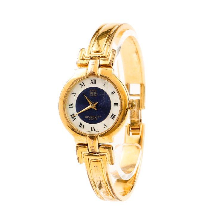 GIVENCHY ジバンシー ヴィンテージ<br>シェル文字盤バングルQZ腕時計