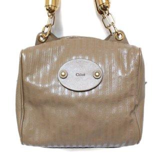 Chloe クロエ ヴィンテージ<br>ストライプレザーハンドバッグ