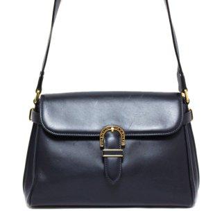 VALENTINO ヴァレンティノ ヴィンテージ<br>レザーショルダーバッグ ネイビー
