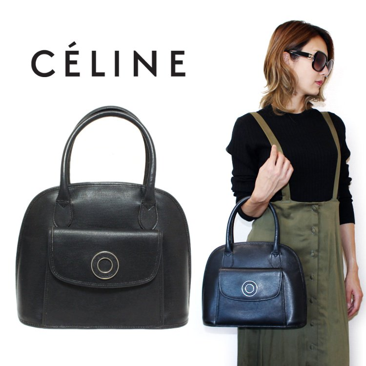 CELINE セリーヌ ヴィンテージ<br>サークル金具レザーハンドバッグ