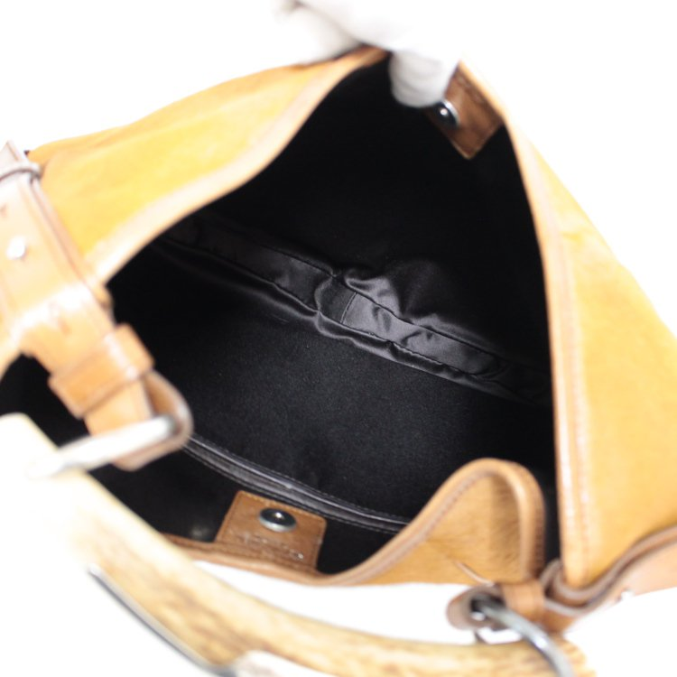YSL イヴサンローラン ヴィンテージ<br>ハラコレザーハンドバッグ キャメル