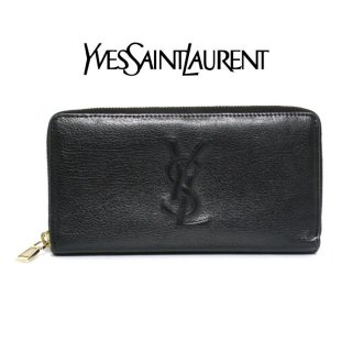 YSL イヴサンローラン ヴィンテージ<br>カサンドラロゴレザーラウンドジップ長財布 ブラック