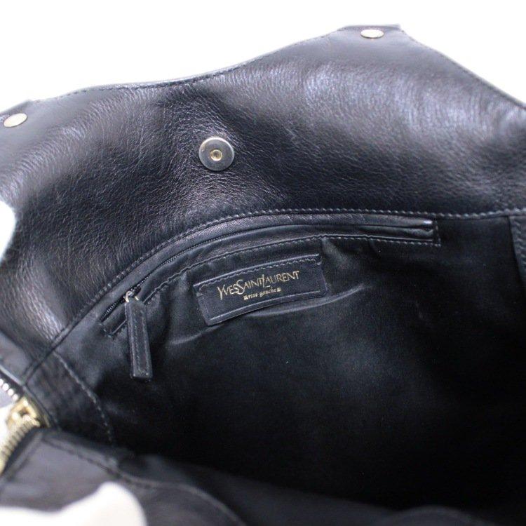 YSL イヴサンローラン ヴィンテージ<br>レザーハンドバッグ ブラック