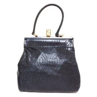 FENDI フェンディ ヴィンテージ<br>ロゴがま口レザーハンドバッグ ネイビー