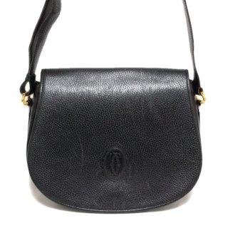 Cartier カルティエ ヴィンテージ<br>マストラインレザーショルダーバッグ ブラック
