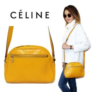 CELINE セリーヌ ヴィンテージ<br>ロゴ型押しレザーショルダーバッグ イエロー