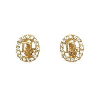 Dior ディオール ヴィンテージ<br>ラインストーンロゴイヤリング
