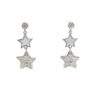 Dior ディオール ヴィンテージ<br>スター×シェルスウィングピアス シルバー