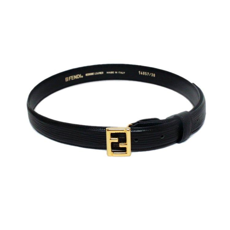 FENDI フェンディ ヴィンテージ<br>ロゴ型押しレザーベルト