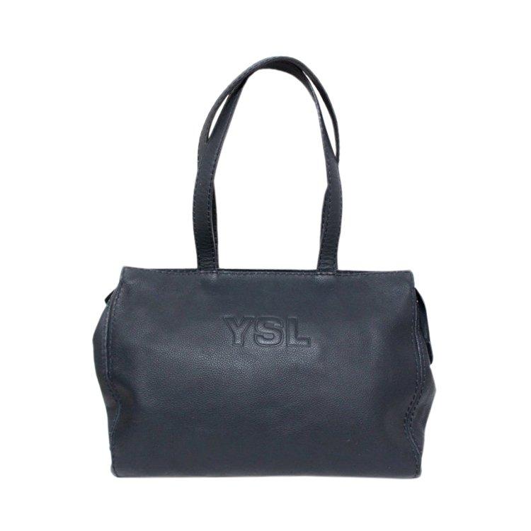YSL イヴサンローラン ヴィンテージ<br>ロゴレザートートショルダーバッグ ネイビー
