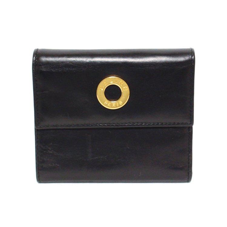 CELINE セリーヌ ヴィンテージ<br>ロゴサークル金具レザー二つ折り財布