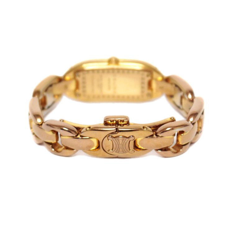 CELINE セリーヌ ヴィンテージ<br>ブラゾンQZ腕時計 ピンクゴールド