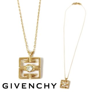 GIVENCHY ジバンシー ヴィンテージ<br>ロゴラインストーンネックレス
