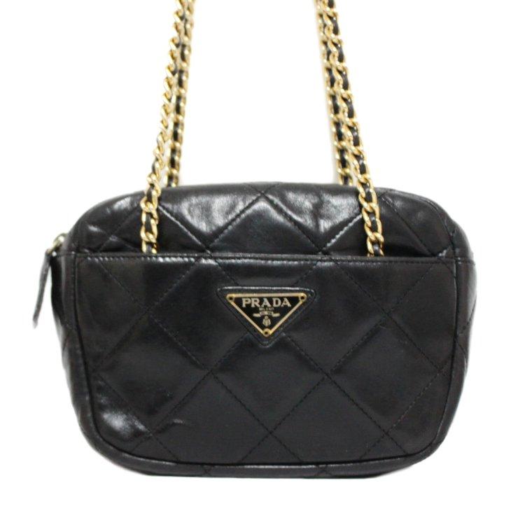 PRADA プラダ ヴィンテージ<br>キルティングレザーミニチェーンバッグ