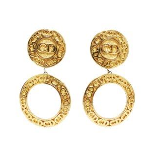 Dior ディオール ヴィンテージ<br>ロゴサークルスウィングイヤリング