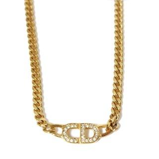 Dior ディオール ヴィンテージ<br>ロゴラインストーンネックレス
