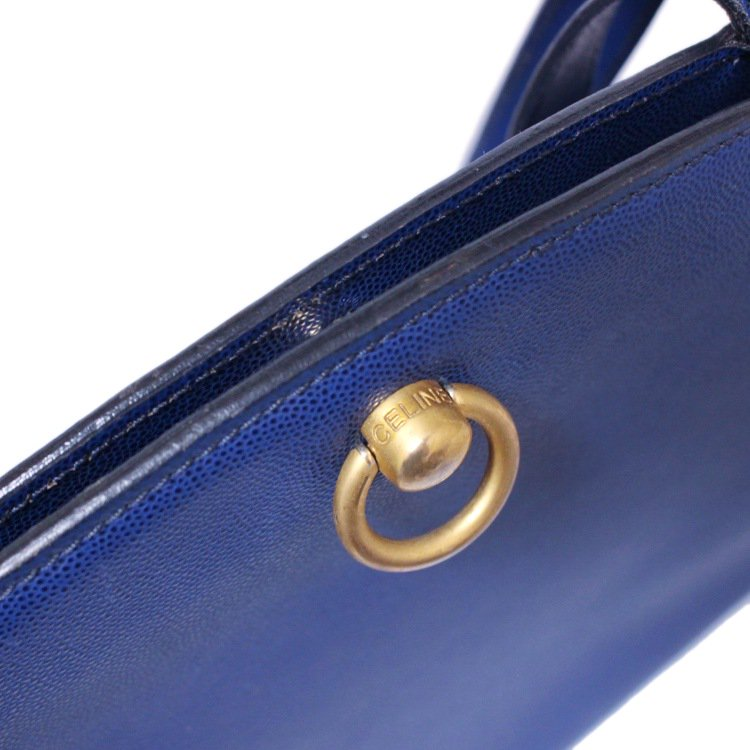 CELINE セリーヌ ヴィンテージ<br>ロゴサークル金具レザーショルダーバッグ ブルー