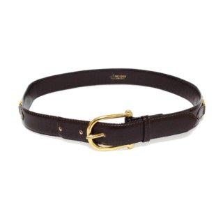 CELINE セリーヌ ヴィンテージ<br>ホースキャリッジレザーベルト ダークブラウン 65