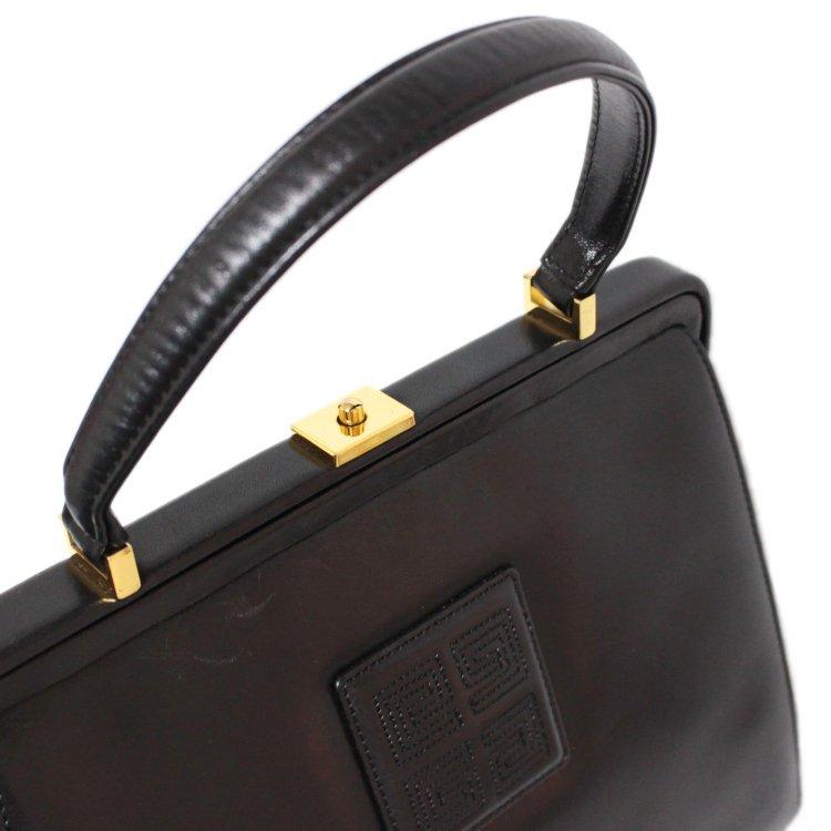 GIVENCHY ジバンシー ヴィンテージ<br>がまぐちロゴレザーハンドバッグ