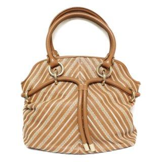 BALLY バリー ヴィンテージ<br>レザー×バイアス刺繍ハンドバッグ