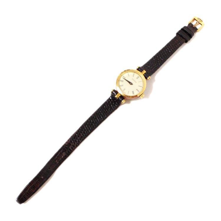 GUCCI グッチ ヴィンテージ<br>シェリーラインQZ腕時計 ダークブラウン