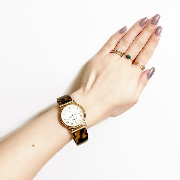 CELINE セリーヌ ヴィンテージ<br>シェルQZ腕時計 べっこう
