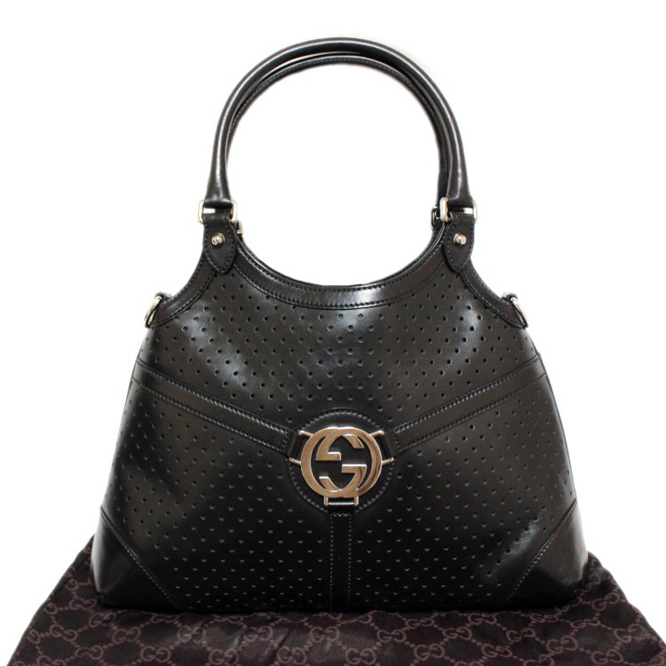 <img class='new_mark_img1' src='https://img.shop-pro.jp/img/new/icons14.gif' style='border:none;display:inline;margin:0px;padding:0px;width:auto;' />GUCCI グッチ ヴィンテージ<br>ロゴパンチングレザーハンドバッグ
