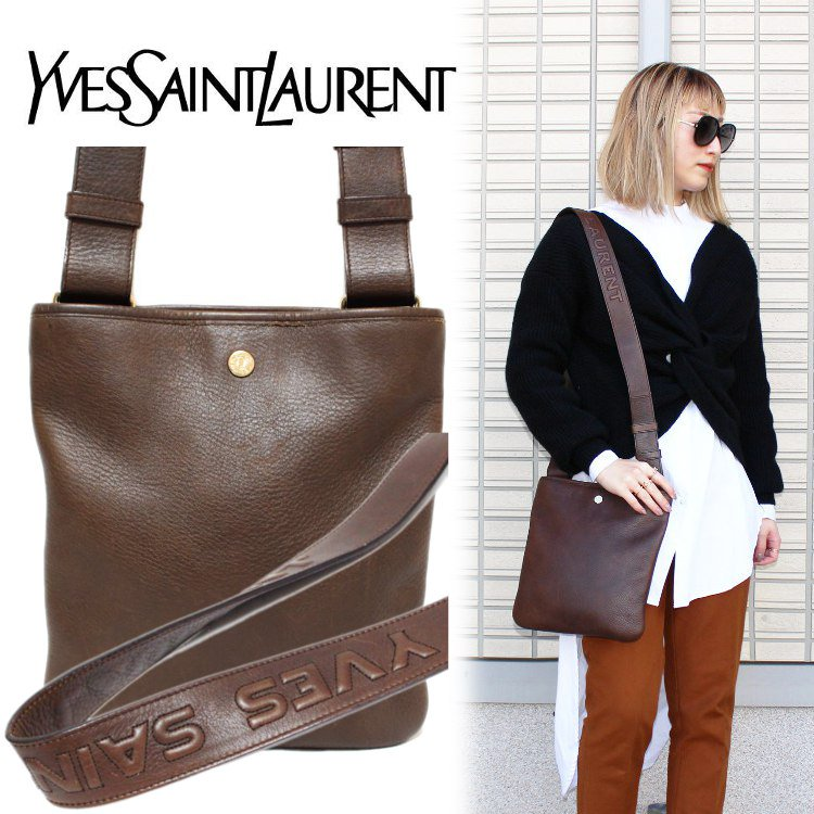 <img class='new_mark_img1' src='https://img.shop-pro.jp/img/new/icons14.gif' style='border:none;display:inline;margin:0px;padding:0px;width:auto;' />YSL イヴサンローラン ヴィンテージ<br>ロゴワンショルダーバッグ ブラウン