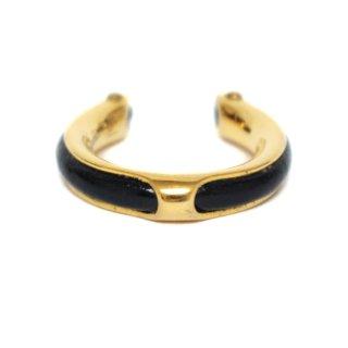 HERMES エルメス ヴィンテージ<br>ゴールド×レザーリング ブラック