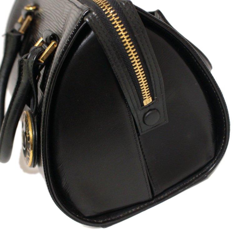 VALENTINO ヴァレンティノ ヴィンテージ<br>ロゴチャーム付エピ型押しボストンハンドバッグ