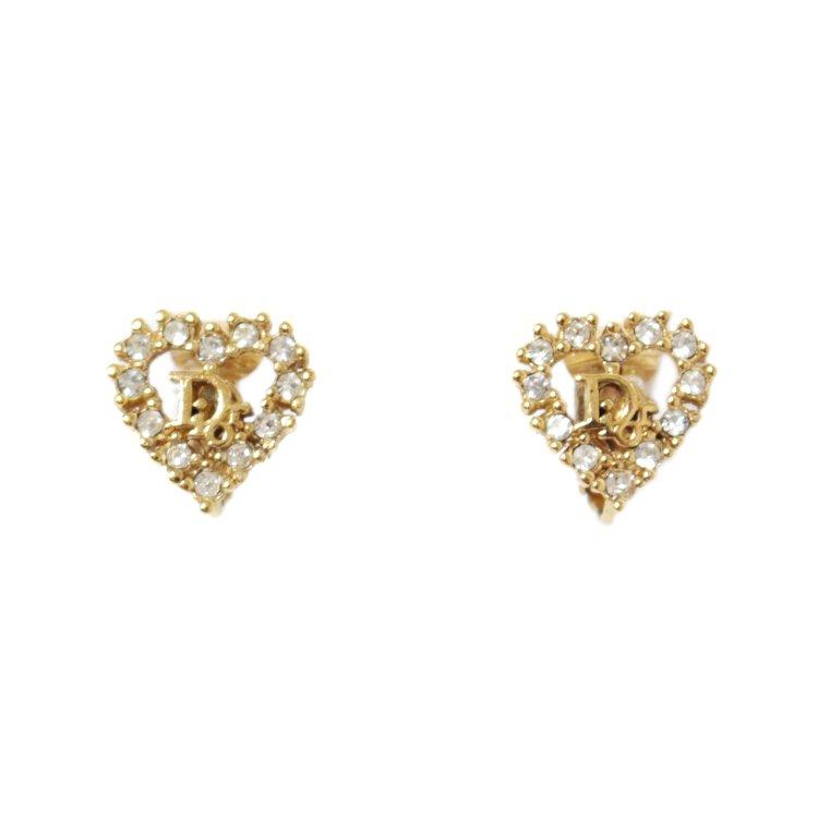 Dior ディオール ヴィンテージ<br>ロゴラインストーンハートイヤリング